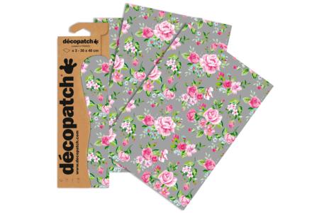 Papier Décopatch roses - 3 feuilles N°716 - Papiers Décopatch – 10doigts.fr