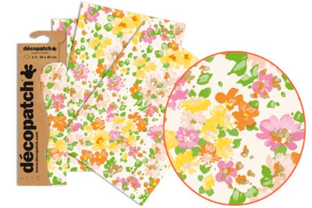 Papier Décopatch fleuris - 3 feuilles N°776 - Papiers Décopatch – 10doigts.fr