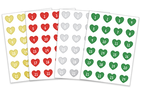 Stickers cœurs Calendrier de l'Avent - Set de 96 gommettes - Calendrier de l'avent – 10doigts.fr