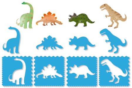 Pochoirs DINOSAURES 3 en 1 - Set de 4 Modèles - Pochoirs Animaux – 10doigts.fr