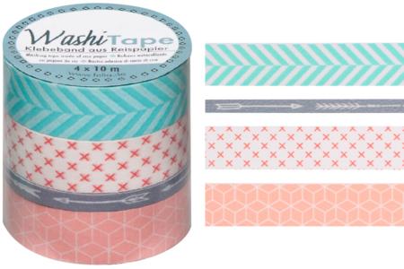 Masking tape motifs géométriques - 4 rouleaux - Rubans adhésifs et Masking tape – 10doigts.fr