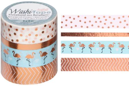 Masking tape rosé - 4 rouleaux motifs métallisés - Rubans adhésifs et Masking tape – 10doigts.fr