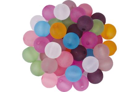 Perles rondes à l'aspect givré - Set de 45 - Perles acrylique – 10doigts.fr