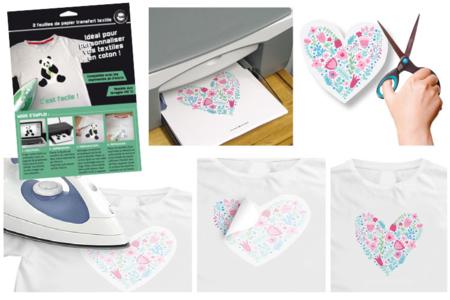 Papier transfert pour textile clair - 5 feuilles - Peinture Tissu – 10doigts.fr