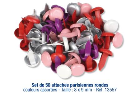 Attaches parisiennes rondes - 50 pièces - Attaches parisiennes – 10doigts.fr
