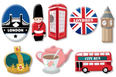 """Motifs """"Londres"""" en bois décoré - Set de 8 - Motifs peint – 10doigts.fr"""
