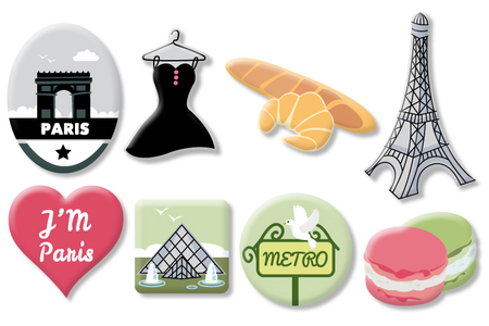 """Motifs """"Paris"""" en bois décoré - Set de 8 - Motifs peint – 10doigts.fr"""