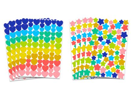 Gommettes étoiles et cœurs multicolores - 8 planches - Coeurs autocollants – 10doigts.fr