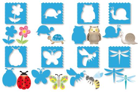 Pochoirs PRINTEMPS 3 en 1 - Set de 8 - Pochoirs à dessin – 10doigts.fr