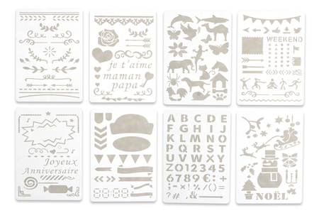 Pochoirs carterie 13 x 18 cm - 8 planches - Bullet Journal, Planner – 10doigts.fr