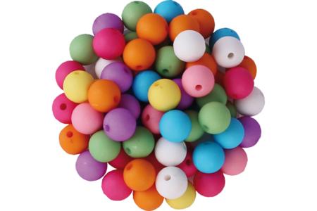 Perles rondes au toucher doux - Set de 80 - Perles acrylique – 10doigts.fr