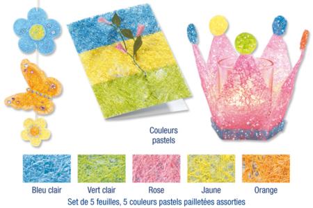 Sisal en feuille couleurs pastels pailletées assorties - Activités en papier – 10doigts.fr