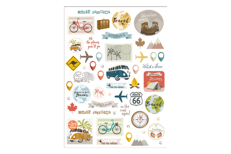 Stickers Voyages - 104 pièces - Stickers divers – 10doigts.fr
