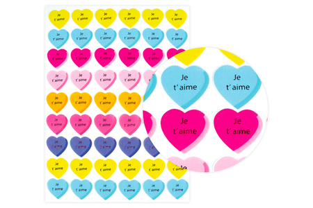 """Gommettes coeur """"Je t'aime"""" - 54 pces - Gommettes coeurs – 10doigts.fr"""