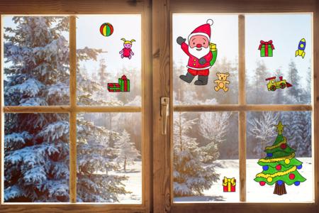 Stickers de Noël pour fenêtres à colorier - Set de 10 - Décoration des vitres – 10doigts.fr