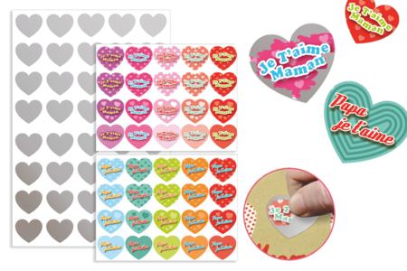 """Cœurs """"Message d'amour"""" à gratter - 40 stickers - Coeurs autocollants – 10doigts.fr"""