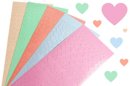 Stickers coeurs couleurs pastels - Set de 795 - Stickers contours, Peel off – 10doigts.fr