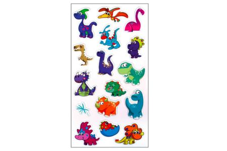 Stickers dinosaures 3D, en caoutchouc souple - Set de 16 - Stickers Fantaisies – 10doigts.fr