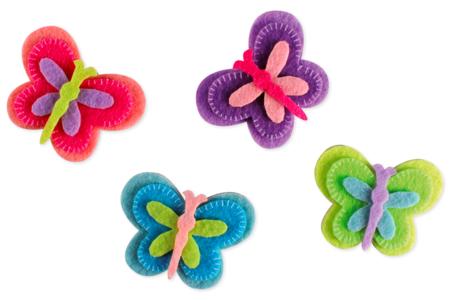 Stickers papillons en feutrine - Set de 8 - Stickers 3D – 10doigts.fr
