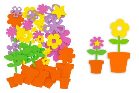 """Stickers en caoutchouc souple """"Pots de fleurs"""" à composer - Formes en Mousse autocollante – 10doigts.fr"""