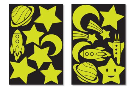 Grands stickers phosphorescents - Espace - Stickers de fêtes – 10doigts.fr