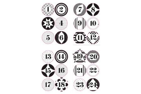 Stickers pour calendrier de l'avent - Set de 3 planches - Gommettes de fêtes – 10doigts.fr