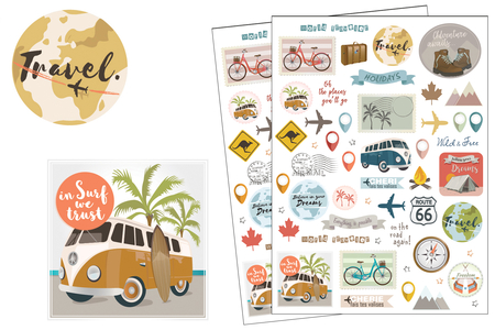 Stickers Voyages et vacances - 104 stickers - Stickers Fantaisies – 10doigts.fr