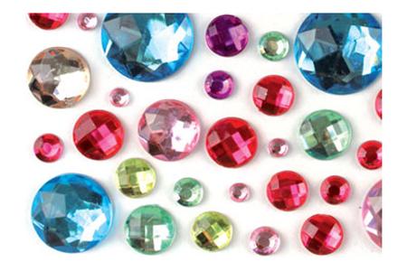 Strass adhésifs ronds multicolores - 106 strass - Strass – 10doigts.fr