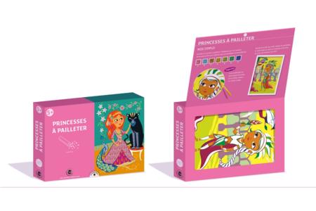 Coffret Princesses - 3 tableaux à pailleter - Paillettes à saupoudrer – 10doigts.fr