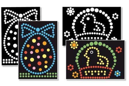 """Tableaux Gommettes """"Pâques"""" - Set de 4 - Kits activités de Pâques – 10doigts.fr"""
