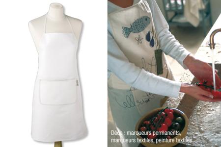 Tablier en coton blanc, avec poche - Déco de la maison – 10doigts.fr