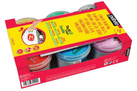 Peinture aux doigts pour tissus - 6 couleurs nacrées - Peinture gouache aux doigts – 10doigts.fr