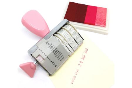 Tampon dateur + encreur rose  - Bullet Journal, Planner – 10doigts.fr