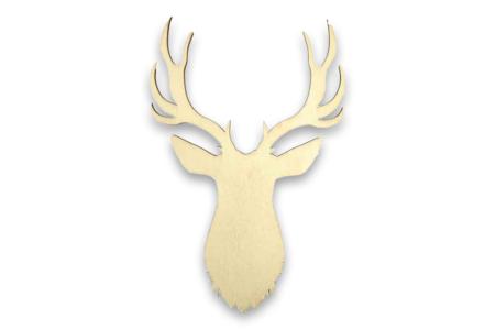 Tête de cerf bois - 19 cm - Motifs brut – 10doigts.fr