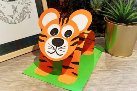 Tigre 3D en papier - Activités enfantines – 10doigts.fr