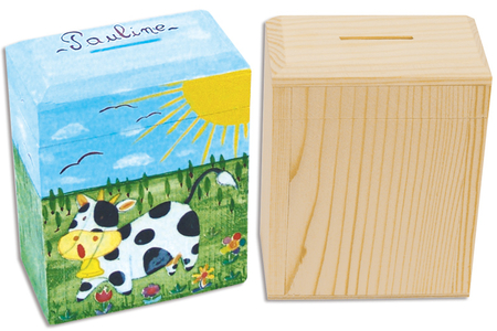 Tirelire en bois rectangle - Tirelires – 10doigts.fr