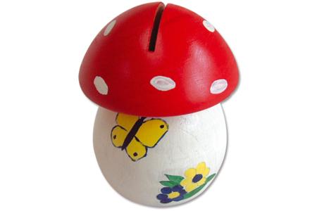Tirelire champignon en bois - Tirelires – 10doigts.fr