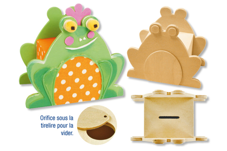 Tirelire grenouille en bois - Tirelires – 10doigts.fr