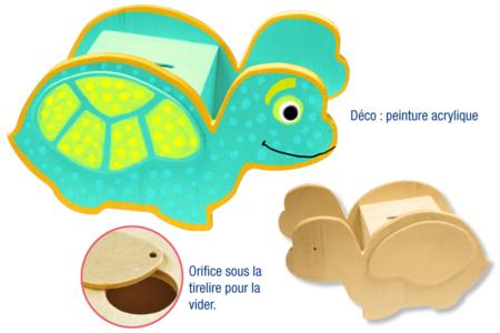 Tirelire tortue en bois - Tirelires – 10doigts.fr