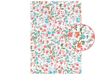 Tissu adhésif fleuri corail et vert - Tissus adhésifs – 10doigts.fr