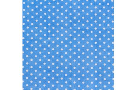 Coupon en coton imprimé : fond bleu + pois blancs - Coupons de tissus – 10doigts.fr