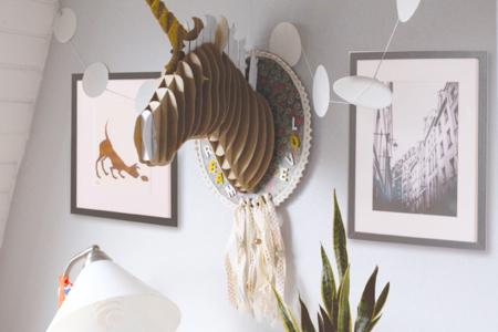 Trophée tête de licorne à construire - Animaux – 10doigts.fr