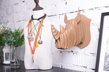 Trophée rhinocéros en carton à assembler - Objets décoratifs en carton – 10doigts.fr