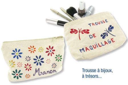Pochette à bijoux en coton naturel avec fermeture zippée - Fête des Mères – 10doigts.fr
