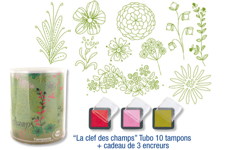 "Tampons ""La clef des champs"" - 10 tampons + 3 encreurs - Tampons – 10doigts.fr"