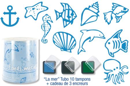 """Tampons """"La mer"""" - 10 tampons + 3 encreurs - Tampons – 10doigts.fr"""