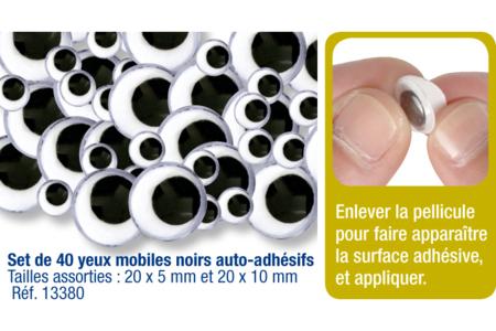 Yeux mobiles noirs adhésifs  - 40 pièces - Yeux mobiles adhésifs – 10doigts.fr