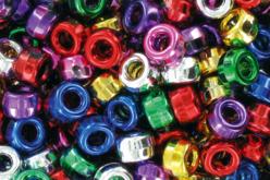 Set de 160 perles rondes ø 9 mm en plastique, couleurs métallisées assorties