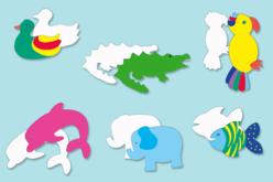 Set de 24 formes d'animaux en carte forte blanche 200 gr