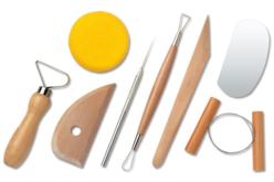 Set de 8 outils modelage poterie - Ebauchoirs, mirettes, extrudeurs, rouleaux – 10doigts.fr